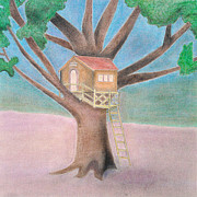 Collagraph Pastels - Tree House by Soft Pastel Paintings