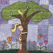 Girl Tapestries - Textiles Posters - Tree Hugging Poster by Julie Bull