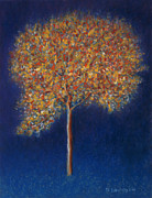Blue Magical Prints - Tree in Blossom Print by Peter Davidson