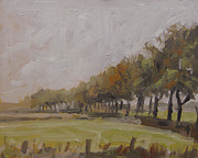 Nederland Paintings - Tree lane in drizzle weather by Nop Briex