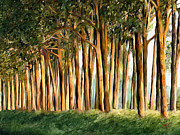 Painted Wood Digital Art Prints - Tree Line Print by James Shepherd