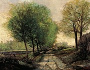 Fresh Green Painting Posters - Tree-lined avenue in a small town Poster by Alfred Sisley