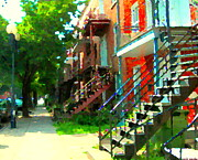 Staircase Paintings - Tree Lined Street Verdun Duplexes With Winding Staircases Iconic Montreal City Scene Carole Spandau  by Carole Spandau