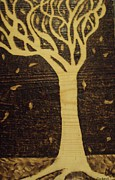 Surreal Art Pyrography Prints - Tree Print by Megan Cockrell