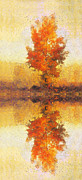 Haze Painting Prints - Tree mirror in lake Print by Odon Czintos