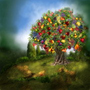 Orange Art Posters - Tree Of Abundance Poster by Carol Cavalaris