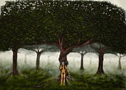 Fruit Tree Art Originals - Tree of Good and Evil-eve with large green garden of eden tree by Millian Glenn