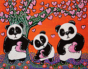 Panda Bear Paintings - Tree of Hearts by Laura Barbosa