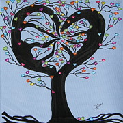 Tree Roots Drawings Prints - Tree of Hearts Print by Marcia Weller-Wenbert