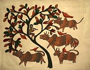 Jangarh Shyam Paintings - Tree Of Life 1992 by Jangarh Singh Shyam