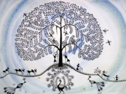 Love Making Mixed Media Prints - Tree of life Print by Anjali Vaidya