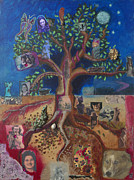 Shamanistic Paintings - Tree of Life by Annette Wagner