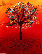 Warm Colors Paintings - Tree of Life by Catherine Barry Hayes