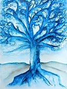 Tree Roots Painting Posters - Tree of Life Poster by Elaine Duras