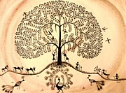 Tribal Art Paintings - Tree of life II by Anjali Vaidya
