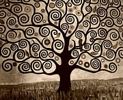 Cellphone Painting Posters - Tree Of Life In Sepia Poster by Samantha Black