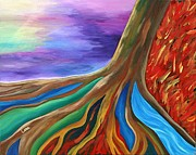 Tree Roots Painting Posters - Tree of Life Poster by Lara Oshon