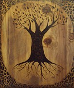 Border Pyrography Metal Prints - Tree of Life Metal Print by Megan Cockrell