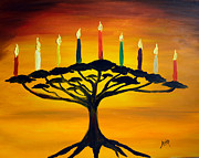 Menorah Paintings - Tree of Life Menorah by Avi     Peretz