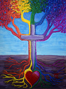 Tree Roots Painting Posters - Tree Of Life Promise Of Eternal Life Poster by Pamorama Jones