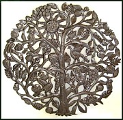 Steel Drum Sculpture Originals - Tree of Life with Sun by Jacob Jean
