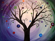 Cop Paintings - Tree of lights-purple by Niki Cox