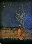 Trippy Painting Originals - Tree of Meditation  by Nickolas  Barakso