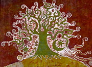 Batik Tapestries - Textiles Posters - Tree on a Hill Poster by Victoria Dresdner