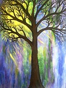 Sun Rays Painting Posters - Tree on blue  Poster by Christine Chase