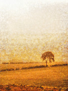 Countryside Mixed Media Prints - Tree on hill at dusk Print by Pixel  Chimp