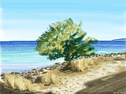 Tree Digital Art Prints - Tree on the beach Print by Veronica Minozzi