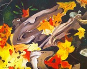 Tree Roots Painting Posters - Tree Roots and Autumn Leaves Poster by Judy Swerlick