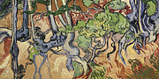 Landscape Posters Painting Framed Prints - Tree Roots Framed Print by Vincent Van Gogh