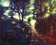 Tuscan Sunset Painting Originals - Tree-Shaded Path Florence Italy by Christopher Clark