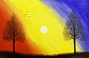 Black Bird.flying Art Paintings - Tree Silhouette AT Sunset Painting by Keith Webber Jr
