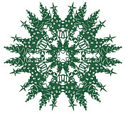 Papercut Tapestries - Textiles - Tree Snowflake by Eric Fronapfel