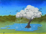 Puddle Mixed Media Posters - Tree Storm Poster by R Neville Johnston