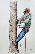 Chipper Prints - Tree Surgeon and chainsaw Print by Gordon Lavender