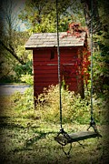 Old School House Posters - Tree Swing by the Outhouse Poster by Paul Ward