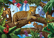 Crisp Digital Art Posters - Tree Top Leopard family Poster by Steve Crisp