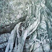 Pencils Paintings - Tree trunk by Bong Perez