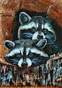 Raccoon Painting Posters - Tree Trunk Raccoons Poster by Kenny Francis