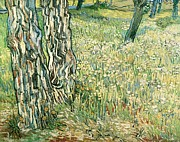 Fresh Flowers Paintings - Tree trunks in grass by Vincent van Gogh
