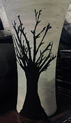 Black Glass Art Originals - Tree Vase by Lee Farley