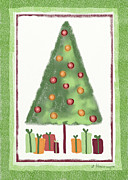 Holiday Card Digital Art Prints - Tree With Presents Print by Arline Wagner