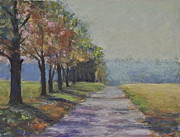 Philadelphia Pastels Prints - Treelined Road Print by Joyce A Guariglia