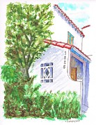 Scenic Drive Painting Posters - Trees and colonial house entrance in West Hollywood - California Poster by Carlos G Groppa