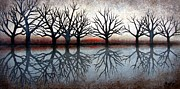 Trees Reflecting In Water Painting Posters - Trees at Sunset Poster by Janet King