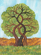 Intertwining Posters - Trees Four Seasons Spring Poster by Gillian Short