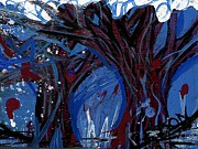 Alizarin Crimson Paintings - Trees In Snow by Genevieve Esson